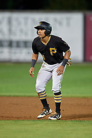 Bristol Pirates center fielder Jonah Davis (14) leads off second base during the second game of a doubleheader against the Bluefield Blue Jays on July 25, 2018 at Bowen Field in Bluefield, Virginia.  Bristol defeated Bluefield 5-2.  (Mike Janes/Four Seam Images)