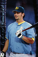 Eric Chavez of the Oakland Athletics during a game against the Anaheim Angels at Angel Stadium circa 1999 in Anaheim, California. (Larry Goren/Four Seam Images)