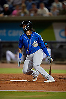 Biloxi Shuckers C.J. Hinojosa (3) at bat during a Southern League game against the Pensacola Blue Wahoos on May 3, 2019 at Admiral Fetterman Field in Pensacola, Florida.  Pensacola defeated Biloxi 10-8.  (Mike Janes/Four Seam Images)