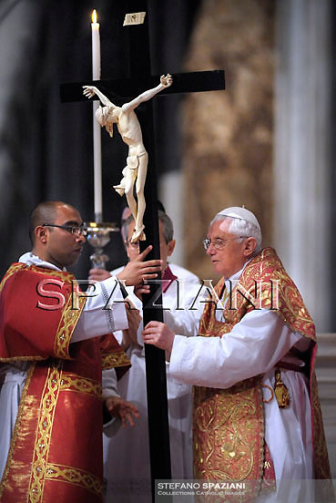 Pope Benedict XVI  the ceremony of the Good Friday Passion of the Lord Mass in Saint Peter's Basilica at the Vatican .April 2, 2010..