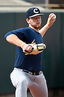 Kane County Cougars pitcher Cody Reed (44) throws a bullpen before a doubleheader against the Cedar Rapids Kernels on May 10, 2016 at Perfect Game Field in Cedar Rapids, Iowa.  Kane County defeated Cedar Rapids 2-0.  (Mike Janes/Four Seam Images)