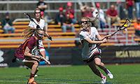 Newton, Massachusetts - April 16, 2016: NCAA Division I. Boston College (white) defeated Virginia Tech (maroon), 15-10, at Newton Campus Field.