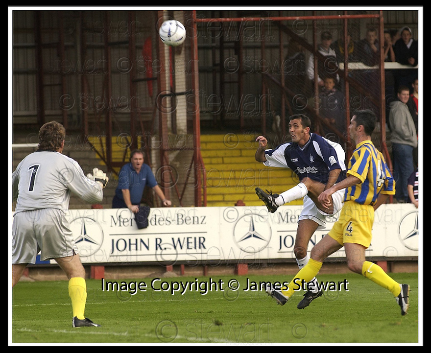 31/8/02       Collect Pic : James Stewart                     .File Name : stewart-falkirk v qots 04.OWEN COYLE TRIES TO CHIP ANDY GORAM BUT HIS EFFORT ENDED UP ON TOP OF THE NET....James Stewart Photo Agency, 19 Carronlea Drive, Falkirk. FK2 8DN      Vat Reg No. 607 6932 25.Office : +44 (0)1324 570906     .Mobile : + 44 (0)7721 416997.Fax     :  +44 (0)1324 570906.E-mail : jim@jspa.co.uk.If you require further information then contact Jim Stewart on any of the numbers above.........