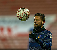 11th February 2021; Oakwell Stadium, Barnsley, Yorkshire, England; English FA Cup 5th round Football, Barnsley FC versus Chelsea; Olivier Giroud of Chelsea warming up for Chelsea