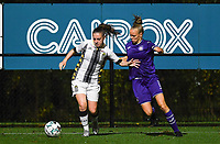 defender Chrystal Lermusiaux of Sporting Charleroi pictured in a fight for the ball with Anderlecht forward Sarah Wijnants (11) during a female soccer game between Sporting Charleroi and RSC Anderlecht on the third matchday of the 2020 - 2021 season of Belgian Scooore Womens Super League , friday 2 nd of October 2020  in Marcinelle , Belgium . PHOTO SPORTPIX.BE | SPP | DAVID CATRY