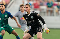 HARTFORD, CT - JULY 10: Jeff Caldwell #13 of Hartford Athletic during a game between New York Red Bulls II and Hartford Athletics at Dillon Stadium on July 10, 2021 in Hartford, Connecticut.