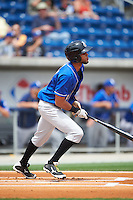 Biloxi Shuckers second baseman Yadiel Rivera (13) at bat during the first game of a double header against the Pensacola Blue Wahoos on April 26, 2015 at Pensacola Bayfront Stadium in Pensacola, Florida.  Biloxi defeated Pensacola 2-1.  (Mike Janes/Four Seam Images)