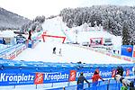 FIS Alpine Ladies Ski World Cup 2021 . Kronplatz, Plan De Corones, Italy on January 26, 2021.  An Austrian athlete in the empty  fiish area