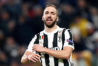 Football Soccer: UEFA Champions League Juventus vs Tottenahm Hotspurs FC Round of 16 1st leg, Allianz Stadium. Turin, Italy, February 13, 2018. <br /> Juventus' Gonzalo Higuain reacts during the Uefa Champions League football soccer match between Juventus and Tottenahm Hotspurs FC at Allianz Stadium in Turin, February 13, 2018.<br /> UPDATE IMAGES PRESS/Isabella Bonotto