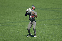 Vanderbilt Commodores center fielder Enrique Bradfield Jr. (51) settles under a fly ball during the game against the South Carolina Gamecocks at Hawkins Field on March 21, 2021 in Nashville, Tennessee. (Brian Westerholt/Four Seam Images)