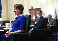 United States Senator Susan Collins (Republican of Maine) and US Senator Mitt Romney (Republican of Utah) attend the US Senate Small Business and Entrepreneurship Hearings to examine implementation of Title I of the CARES Act on Capitol Hill in Washington, DC on Wednesday, June 10, 2020. <br /> Credit: Kevin Dietsch / Pool via CNP/AdMedia