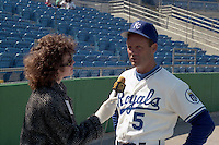 Kansas City Royals first baseman George Brett does an interview during spring training circa 1989 at Baseball City Stadium in Davenport, Florida.  (MJA/Four Seam Images)