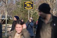 Mesbah Mohammady (left) and Shaghaygh Sahandi (right), refugees from Iran. They are asylum activist in Chemnitz, Saxonia.<br /> The picture was taken at a rally against fashism at the 13th February 2015 in Dresden.<br /> 2.000 people took place on a march trough Dresden to visit places of interest to explain what happens in the decade of national socialism in Dresden. The rally was on the day before the yearly anniversary of the 14th February, the day when 1945 the british Army bombed Dresden.<br /> 13.2.2015, Dresden<br /> Copyright: Christian-Ditsch.de<br /> [Inhaltsveraendernde Manipulation des Fotos nur nach ausdruecklicher Genehmigung des Fotografen. Vereinbarungen ueber Abtretung von Persoenlichkeitsrechten/Model Release der abgebildeten Person/Personen liegen nicht vor. NO MODEL RELEASE! Nur fuer Redaktionelle Zwecke. Don't publish without copyright Christian-Ditsch.de, Veroeffentlichung nur mit Fotografennennung, sowie gegen Honorar, MwSt. und Beleg. Konto: I N G - D i B a, IBAN DE58500105175400192269, BIC INGDDEFFXXX, Kontakt: post@christian-ditsch.de<br /> Bei der Bearbeitung der Dateiinformationen darf die Urheberkennzeichnung in den EXIF- und  IPTC-Daten nicht entfernt werden, diese sind in digitalen Medien nach §95c UrhG rechtlich geschuetzt. Der Urhebervermerk wird gemaess §13 UrhG verlangt.]