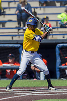 Michigan Wolverines outfielder Johnny Slater (25) at bat against the Illinois Fighting Illini during the NCAA baseball game on April 8, 2017 at Ray Fisher Stadium in Ann Arbor, Michigan. Michigan defeated Illinois 7-0. (Andrew Woolley/Four Seam Images)