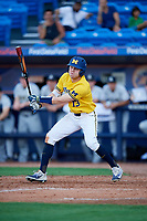 Michigan Wolverines designated hitter Dominic Clementi (13) hits a double during a game against Army West Point on February 17, 2018 at Tradition Field in St. Lucie, Florida.  Army defeated Michigan 4-3.  (Mike Janes/Four Seam Images)