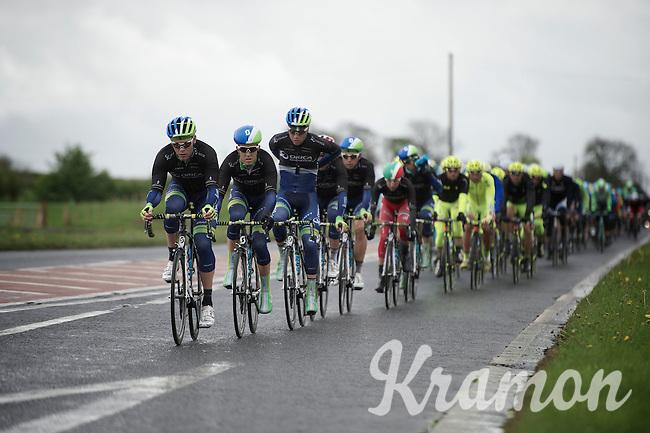 peloton with Orica-GreenEDGE controlling the bunch<br /> <br /> Giro d'Italia 2014<br /> stage 2: Belfast-Belfast <br /> 219km
