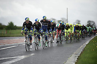 peloton with Orica-GreenEDGE controlling the bunch<br /> <br /> Giro d'Italia 2014<br /> stage 2: Belfast-Belfast <br /> 219km