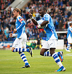 St Johnstone v Eskisehirspor...26.07.12  Europa League Qualifyer.Gregory Tade celebrates.Picture by Graeme Hart..Copyright Perthshire Picture Agency.Tel: 01738 623350  Mobile: 07990 594431
