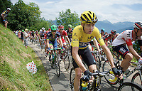 yellow jersey Chris Froome (GBR/SKY) up the first hill immediately after the start; the Collet de Tamié (8.1km @7%)<br /> <br /> Stage 19:  Albertville › Saint-Gervais /Mont Blanc (146km)<br /> 103rd Tour de France 2016