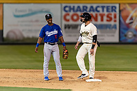 Rancho Cucamonga Quakes shortstop Jeter Downs (15) talks to Tim Susnara (6) during a California League game against the Visalia Rawhide on April 8, 2019 in Visalia, California. Rancho Cucamonga defeated Visalia 4-1. (Zachary Lucy/Four Seam Images)