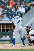 J.P. Arencibia (16) of the Durham Bulls at bat against the Charlotte Knights at BB&T BallPark on July 22, 2015 in Charlotte, North Carolina.  The Knights defeated the Bulls 6-4.  (Brian Westerholt/Four Seam Images)