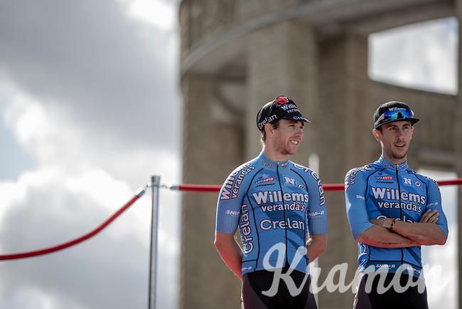 Sean De Bie (BEL/Veranda's Willems Crelan) and Dries De Bondt (BEL/Veranda's Willems Crelan) at the pre race team presentation. <br /> <br /> 1st Great War Remembrance Race 2018 (UCI Europe Tour Cat. 1.1) <br /> Nieuwpoort > Ieper (BE) 192.7 km