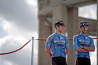 Sean De Bie (BEL/Veranda's Willems Crelan) and Dries De Bondt (BEL/Veranda's Willems Crelan) at the pre race team presentation. <br /> <br /> 1st Great War Remembrance Race 2018 (UCI Europe Tour Cat. 1.1) <br /> Nieuwpoort > Ieper (BE) 192.7 km
