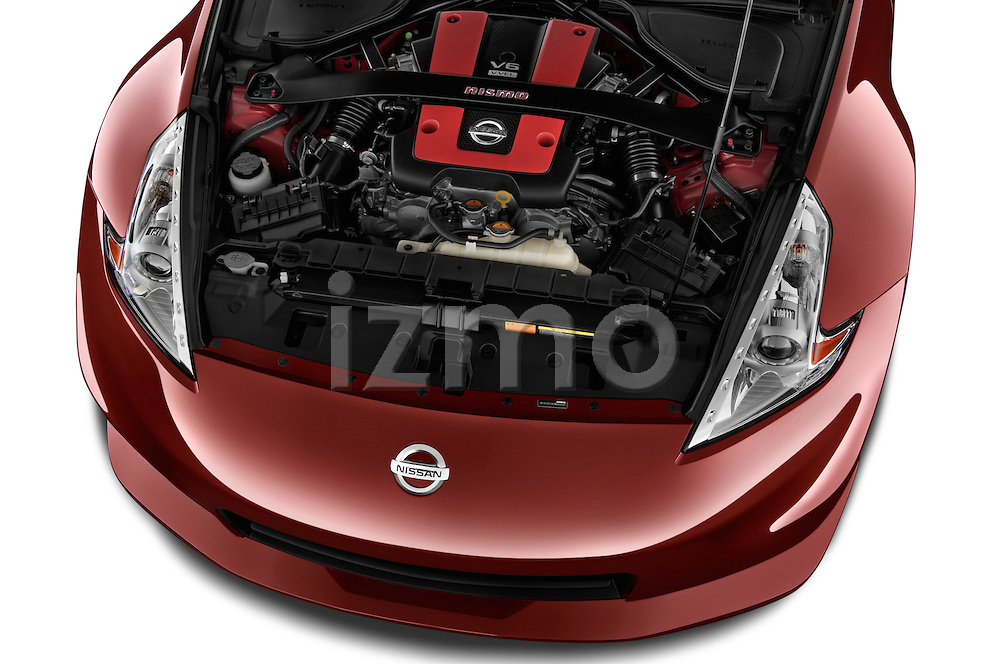 High angle engine detail of a  .2013 Nissan 370Z Nismo Coupe