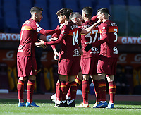 Football, Serie A: AS Roma -  Udinese, Olympic stadium, Rome, February 14, 2021. <br /> Roma's Jordan Veretout (c) celebrates after scoing with his teammates during the Italian Serie A football match between Roma and Udinese at Rome's Olympic stadium, on February 14, 2021.  <br /> UPDATE IMAGES PRESS/Isabella Bonotto