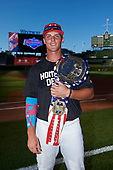 Nolan Gorman (9) of Sandra Day O'Connor High School in Glendale, Arizona poses for a photo after winning the home run derby before the Under Armour All-American Game presented by Baseball Factory on July 29, 2017 at Wrigley Field in Chicago, Illinois.  (Mike Janes/Four Seam Images)