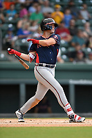 Right fielder Greyson Jenista (23) of the Rome Braves bats in Game 2 of a doubleheader against the Greenville Drive on Friday, August 3, 2018, at Fluor Field at the West End in Greenville, South Carolina. Rome won, 6-3. (Tom Priddy/Four Seam Images)