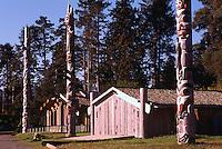 Haida Gwaii (Queen Charlotte Islands), Northern BC, British Columbia, Canada - Totem Poles and Longhouses at Haida Heritage Centre at Kaay Llnagaay / Qay'llnagaay, Skidegate, Graham Island