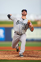 Biloxi Shuckers pitcher Damien Magnifico (32) delivers a pitch during the second game of a double header against the Pensacola Blue Wahoos on April 26, 2015 at Pensacola Bayfront Stadium in Pensacola, Florida.  Pensacola defeated Biloxi 2-1.  (Mike Janes/Four Seam Images)