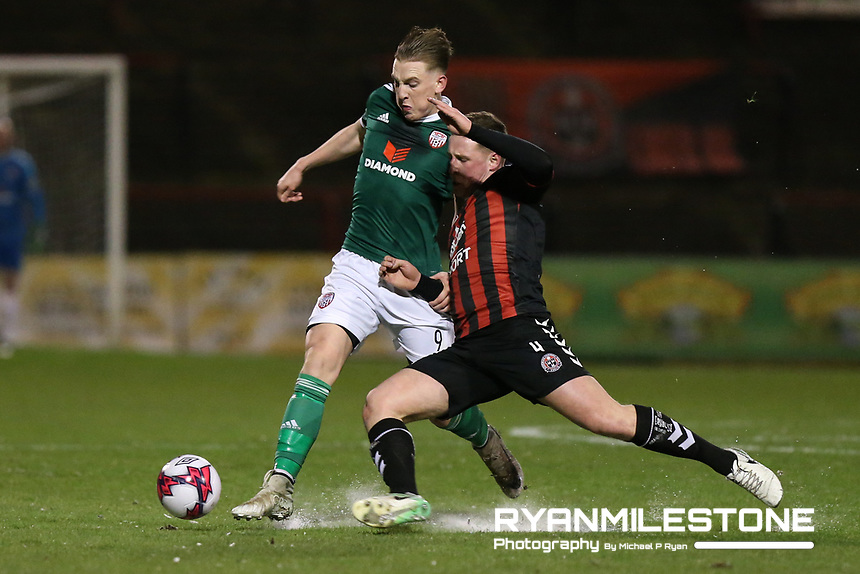 Ronan Curtis of Derry with Dan Casey of Bohemians <br /> during the SSE Airtricity League Premier Division game between Bohemians and Derry City on Tuesday 27th February 2018 at Dalymount Park, Dublin. Photo By: Michael P Ryan