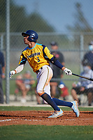 Justin Colon (3) during the WWBA World Championship at Lee County Player Development Complex on October 8, 2020 in Fort Myers, Florida.  Justin Colon, a resident of Clermont, Florida who attends Montverde Academy, is committed to Missouri.  (Mike Janes/Four Seam Images)
