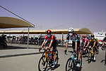 Riders head to the start of Stage 3 of the 2021 UAE Tour running 166km from Al Ain to Jebel Hafeet, Abu Dhabi, UAE. 23rd February 2021.  <br /> Picture: Eoin Clarke | Cyclefile<br /> <br /> All photos usage must carry mandatory copyright credit (© Cyclefile | Eoin Clarke)