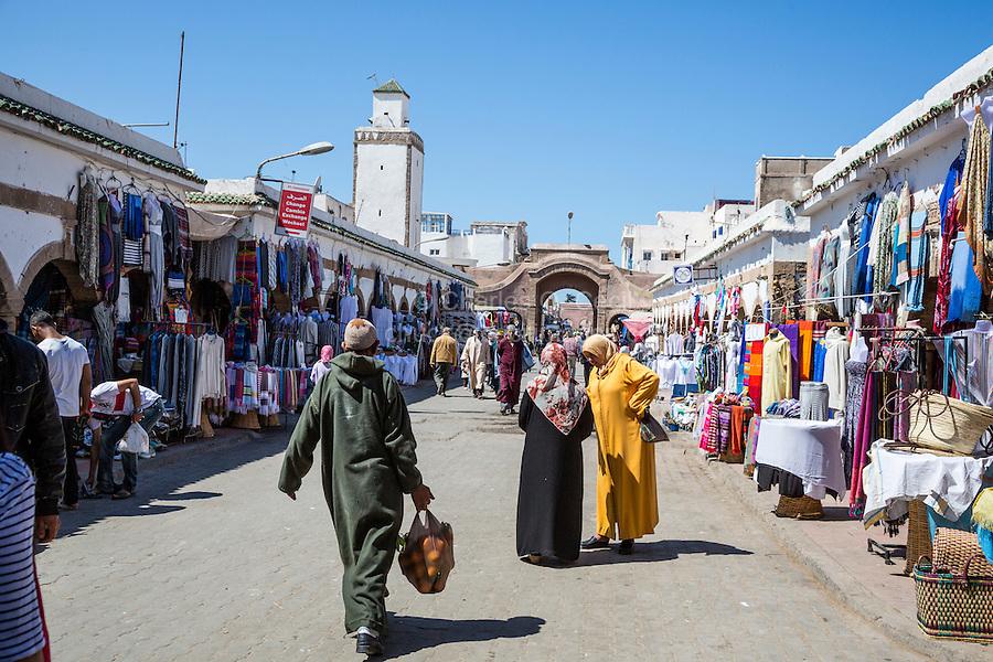 Essaouira, Morocco.  Street Scene in the Medina Market, Ave. Mohamed Zerktouni.