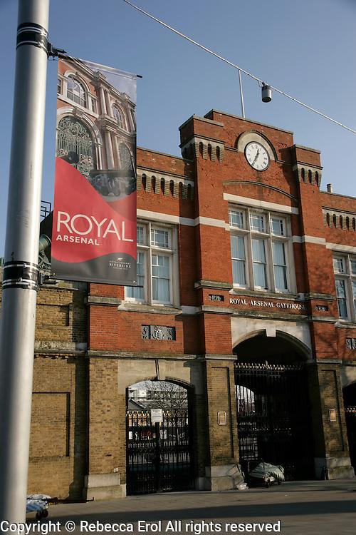 Royal Arsenal gate, Woolwich, southeast London, UK