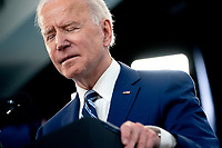 U.S. President Joe Biden pauses while delivering remarks on the state of the Covid-19 vaccine in the South Court Auditorium of the White House in Washington, D.C., U.S., on Monday, March 29, 2021. <br /> CAP/MPI/RS<br /> ©RS/MPI/Capital Pictures