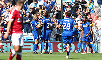 28th August 2021; Cardiff City Stadium, Cardiff, Wales;  EFL Championship football, Cardiff versus Bristol City; Cardiff City players celebrate after Kieffer Moore of Cardiff City scores the equalizer to make it 1-1 in the second half