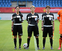20150514 - BEVEREN , BELGIUM : referees pictured with Tina Tyteca (left) , Virginie Derouaux and Berangere Pierart (right) during the final of Belgian cup, a soccer women game between SK Lierse Dames and Club Brugge Vrouwen , in stadion Freethiel Beveren , Thursday 14 th May 2015 . PHOTO DAVID CATRY