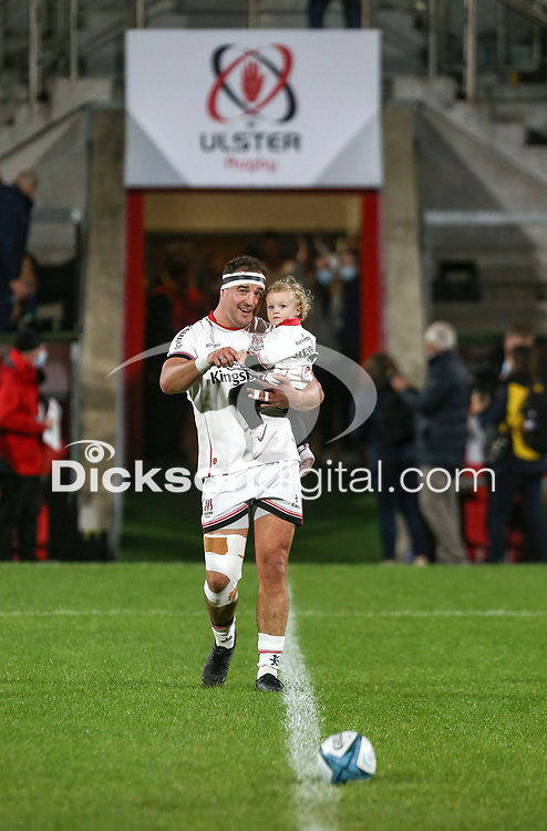 Friday 8th October 2021<br /> <br /> Rob Herring walks out with his daughter to win his 200th Ulster cap  during the URC Round 3 clash between Ulster Rugby and Benetton Rugby at Kingspan Stadium, Ravenhill Park, Belfast, Northern Ireland. Photo by John Dickson/Dicksondigital