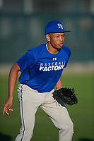 Marcus Wilson (24), from Rutherford, New Jersey, while playing for the Dodgers during the Baseball Factory Pirate City Christmas Camp & Tournament on December 30, 2017 at Pirate City in Bradenton, Florida.  (Mike Janes/Four Seam Images)