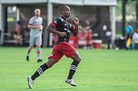 LAKE BUENA VISTA, FL - JULY 13: Ola Kamara #9 of DC United running during a game between D.C. United and Toronto FC at Wide World of Sports on July 13, 2020 in Lake Buena Vista, Florida.