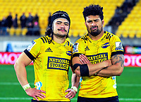 Hurricanes Du'Plessis Kirifi and Ardie Savea (right) after the Super Rugby Aotearoa match between the Hurricanes and Chiefs at Sky Stadium in Wellington, New Zealand on Saturday, 8 August 2020. Photo: Dave Lintott / lintottphoto.co.nz