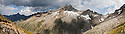 Torre di Lavina, sited on the main ridge of the Gran Paradiso Group, viewed from Colle dell' Arolla. Digitally Stitched Panorama. Aosta Valley, Pennine Alps, Italy. July.