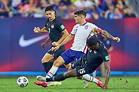 5th September 2021; Nashville, TN, USA;  United States forward Christian Pulisic breaks between Canada defender Doneil Henry (15) and midfielder Stephen Eustaquio (7) during a CONCACAF World Cup qualifying match between the United States and Canada on September 5, 2021 at Nissan Stadium in Nashville, TN.