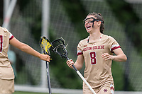 NEWTON, MA - MAY 16: Charlotte North #8 of Boston College celebrates her goal during NCAA Division I Women's Lacrosse Tournament second round game between Temple University and Boston College at Newton Campus Lacrosse Field on May 16, 2021 in Newton, Massachusetts.
