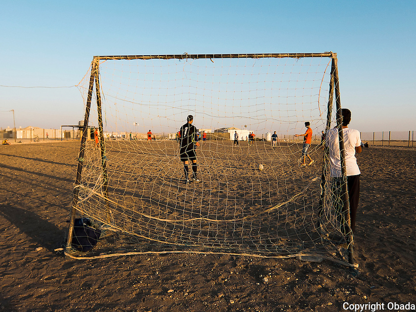 ***WARNING*** RESTRICTED USAGE ---   ***DO NOT USE WITHOUT TALKING TO BECKY FIRST!! PART OF A PROJECT. NO RIGHTS OUTSIDE OF THAT PROJECT. ***  ***            The youth football leagues in Zaatari refugee camp.