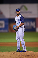 Brooklyn Cyclones pitcher Jose Celas (44) gets ready to deliver a pitch during the second game of a doubleheader against the Connecticut Tigers on September 2, 2015 at Senator Thomas J. Dodd Memorial Stadium in Norwich, Connecticut.  Connecticut defeated Brooklyn 2-1.  (Mike Janes/Four Seam Images)